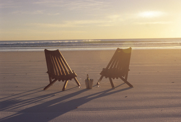 Chairs at sunset on Cable Beach, Broome