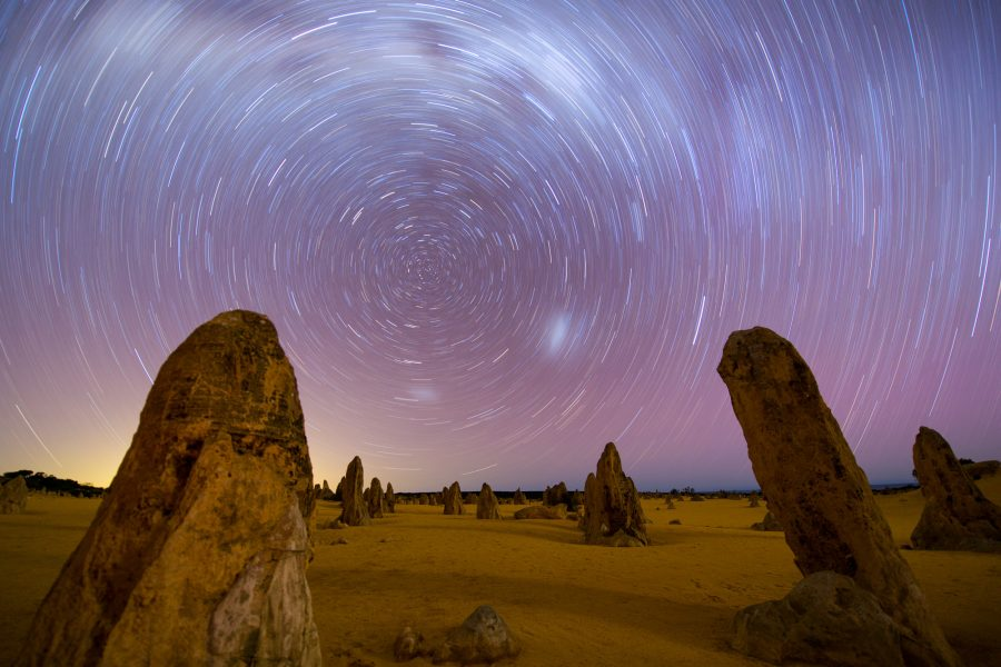 Startrails and Milky Way over The Pinnacles, Nambung National Park