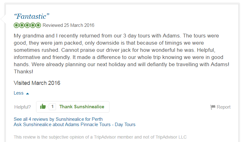 Sunshinealice, TripAdvisor Review