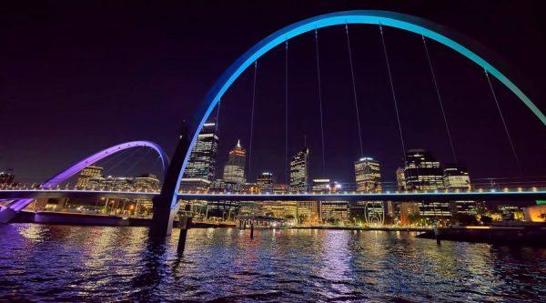 Elizabeth Quay, Perth City, night view bridge, light show, colour, night