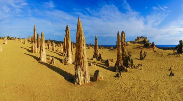 the pinnacles desert, cervantes, blue sky, pinnacle statues
