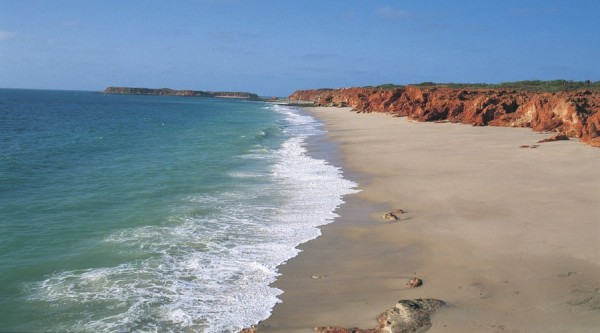 Birds eye view, Cape Leveque in Broome, blue ocean, shore line