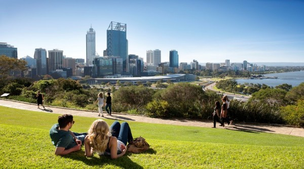 Perth City Skyline, Kings Park, scenery, landscape, view, couple on grass, blue skies
